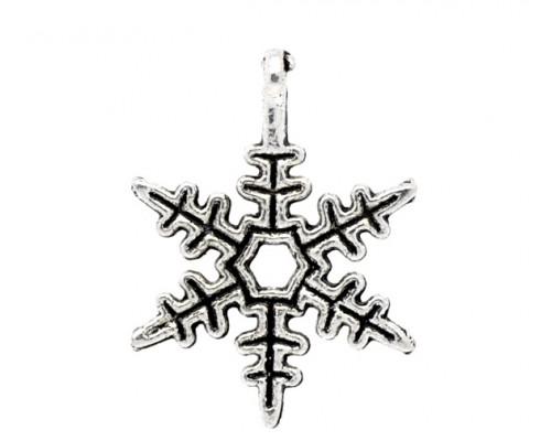 """Подвеска металлическая """"Снежинка острая"""" серебро 1шт."""