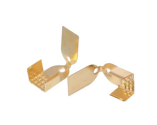 Металлический наконечник для шнуров/резинок, желтое золото, 10 шт