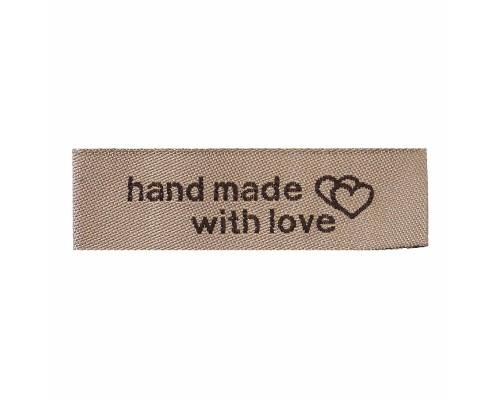 """Лейбл тканевый """"Hand made with love"""", 1 шт."""
