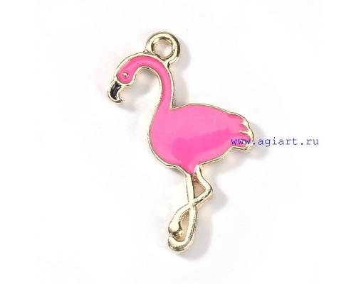 """Подвеска металлическая """"Ярко-Розовый Фламинго""""  1шт."""