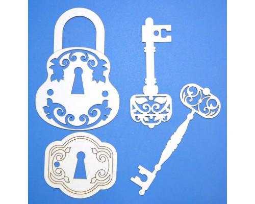 """Чипборд """"Ключи с замком 2"""" Просвет"""