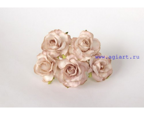 Кудрявые розы 4 см - Св. бежевые, 5 шт
