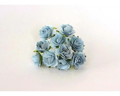 Кудрявые розы 2 см - голубые , 5 шт