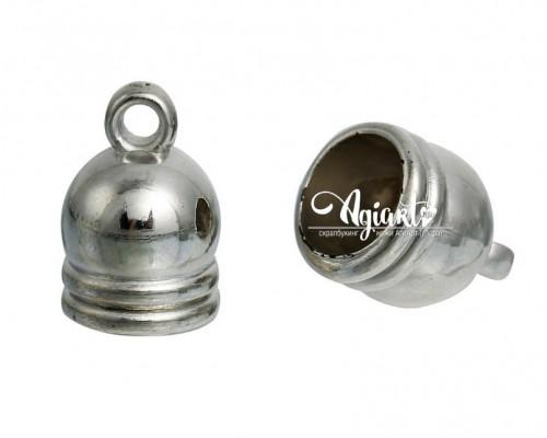 Металлический наконечник, серебро, 5 шт