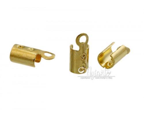 Металлический наконечник для шнуров, золото, 10 шт