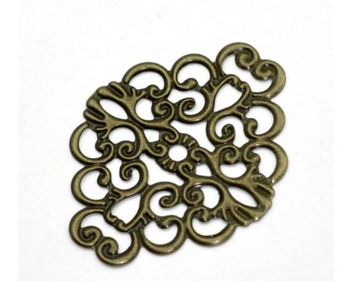 """Металлическое украшение """"Филигранный цветок"""", бронза, 1 шт"""
