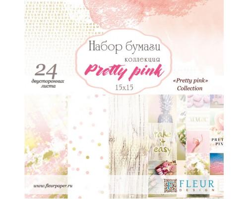 """Набор бумаги """"Pretty pink"""" 15*15, 24 двусторонних листа FLEUR-design"""