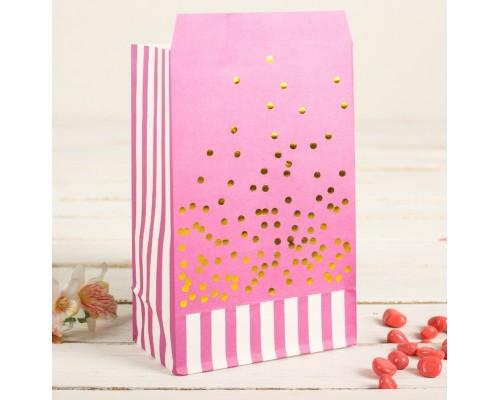 """Бумажный пакет """"Малиновое конфетти"""", 20*13 см, 1 шт"""