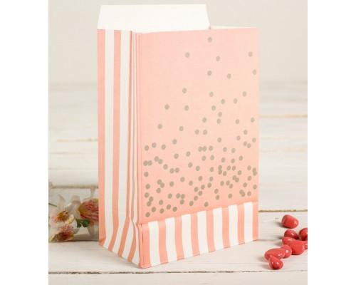 """Бумажный пакет """"Розово-персиковое конфетти"""", 20*13 см, 1 шт"""