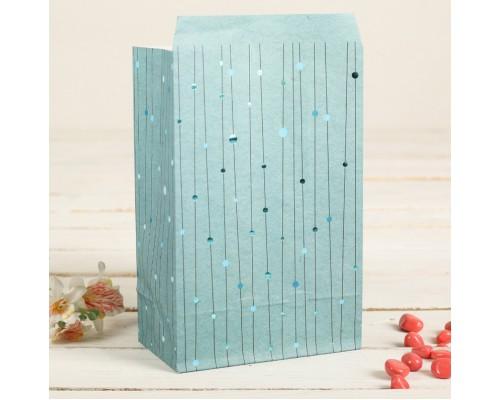 """Бумажный пакет """"Фольгированные нити на синем"""", 20*13 см, 1 шт"""