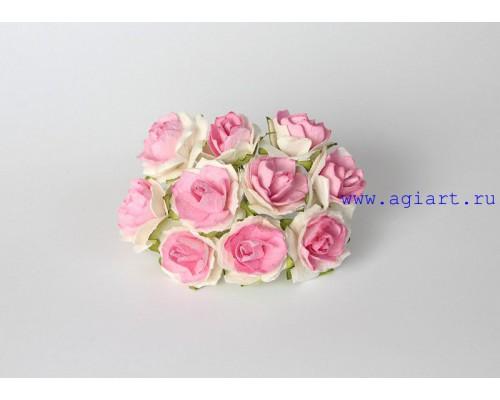 Кудрявые розы 2 см - Белый + розовый в серединке , 5 шт