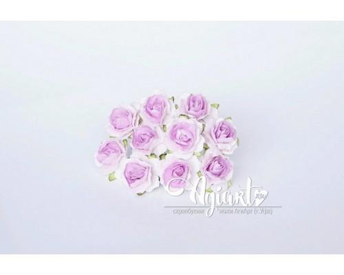 Кудрявые розы 2 см - Белый + св.сиреневый в середине, 5 шт