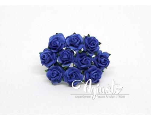 Розы синие 1,5 см, 10шт.