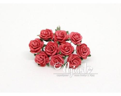 Розы красные светлые 1,5 см, 10шт.
