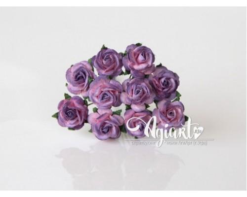 Розы розовый+фиолетовый 1,5 см, 10 шт.