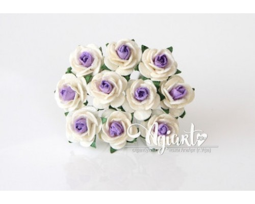 Розы молочный+светло-сиреневая середина 1,5 см, 10шт.