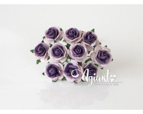 Розы св.розовые+фиолетовая середина 1,5 см, 10шт.