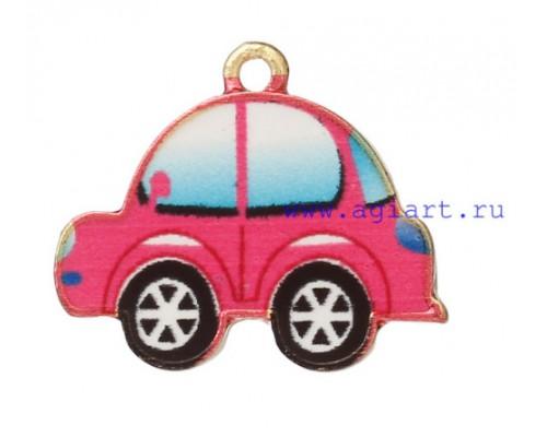 """Подвеска металлическая """"Машинка"""" розовый + золото, 1 шт."""