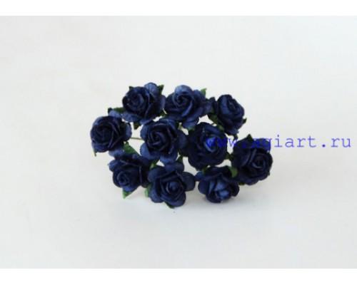 Розы темно-синие 1,5 см, 10шт.