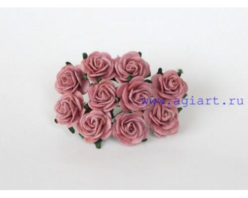 Розы каштановые 2 см, 5 шт.
