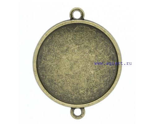"""Металлическое украшение """"Коннектор-рамка"""", бронза, 1 шт"""
