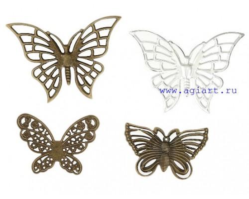 """Металлическое украшение """"Ажурные бабочки"""", 4 шт"""
