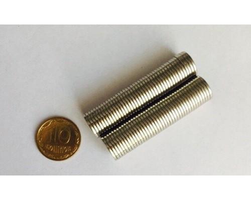 Магнит неодимовый малый круглый, 10х1 мм, 10 шт