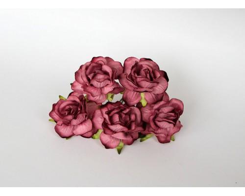 Кудрявые розы 4 см - Сиреневые теплые, 5 шт