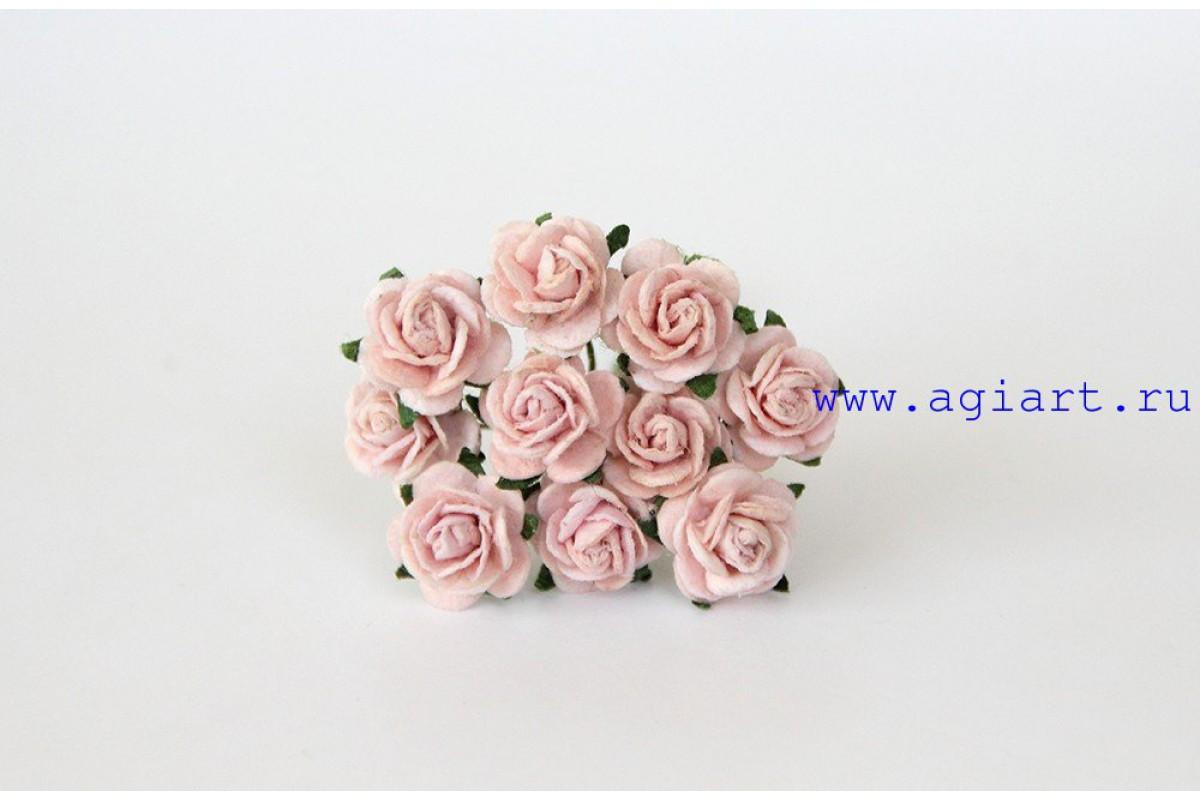 розы розовоперсиковые светлые 1 см, 10шт.