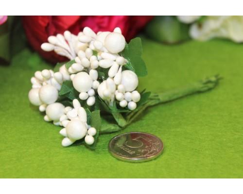 """Декоративный букетик """"Белый с крупными тычинками"""", 12 веточек"""