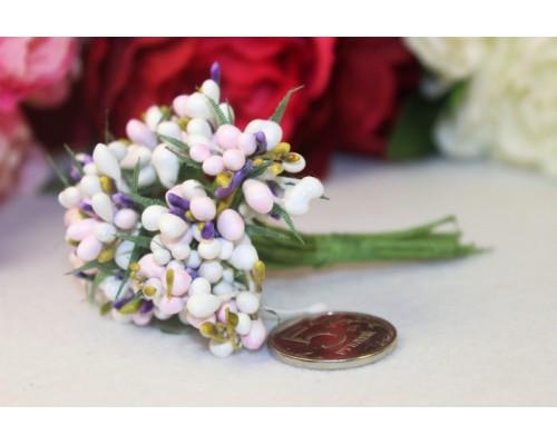 """Декоративный букетик """"Белый+Розовый"""", 12 веточек"""