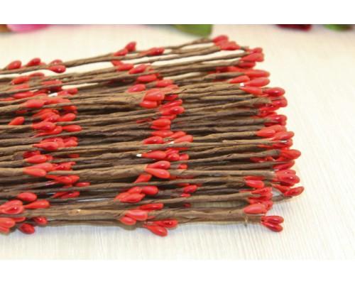Декоративные веточки с красными ягодками, 40 см., 5 шт.