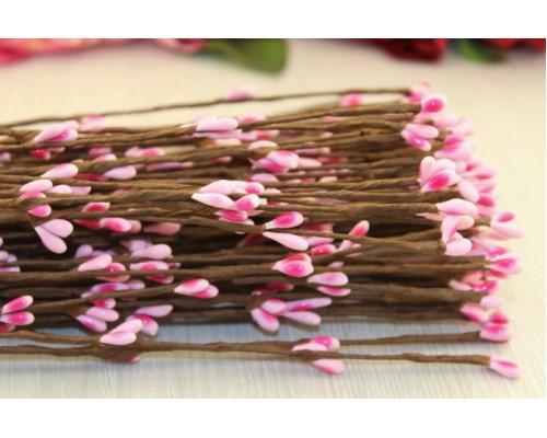 Декоративные веточки с розовыми ягодками, 40 см., 5 шт.