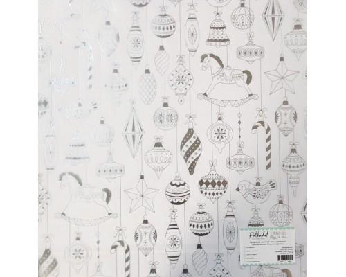 """Прозрачный ацетатный лист с серебрянным фольгированием """"Елочные игрушки"""" Polkadot"""