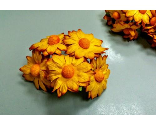 Ромашки оранжевые большие 3.5 см, 5 шт