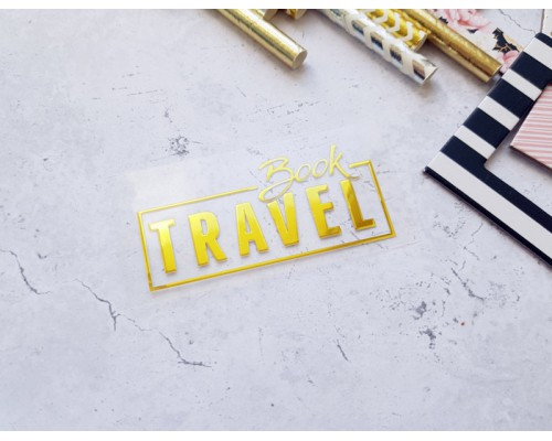 """Надпись из термотрансферной пленки """"Travelbook"""" золото глянец, 6х2,7см. Космокотики"""