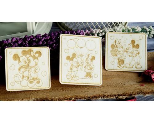"""Чипборд """"Карточки Микки и Минни Маусы"""". Скрапля"""