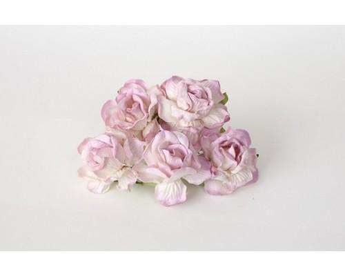 Кудрявые розы 4 см -Белый+св. сиреневые кончики, 5 шт