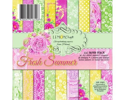 """Набор бумаги """"Fresh Summer"""" 15*15 см - 18 листов (1/2 набора) Lemoncraft"""
