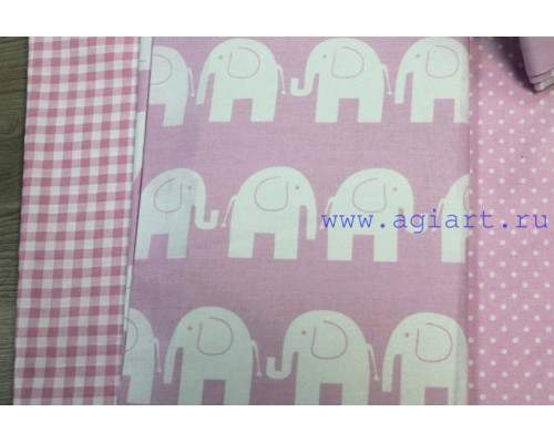"Ткань хлопок ""слонята на розовом"" 50*80 см"