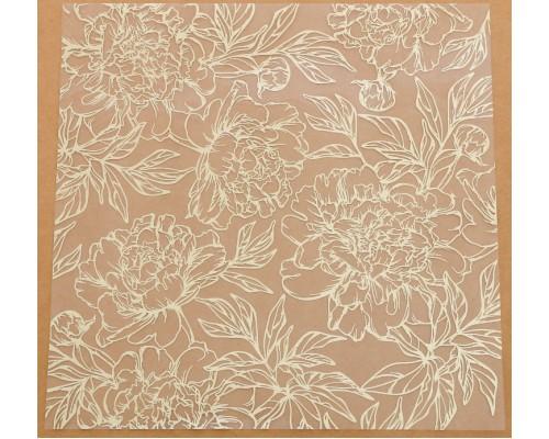 Ацетатный лист с фольгированием «Золотые пионы», 20 × 20 см, АртУзор