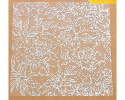 Ацетатный лист с фольгированием «Серебряные пионы», 20 × 20 см, АртУзор