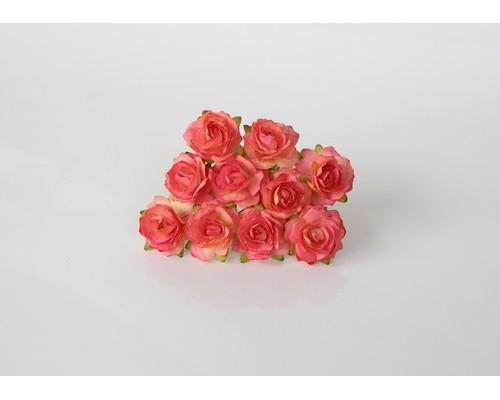 Кудрявые розы 2 см - Желтый + розовый №1, 5 шт