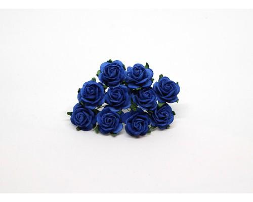 Розы синие 2 см, 5 шт.