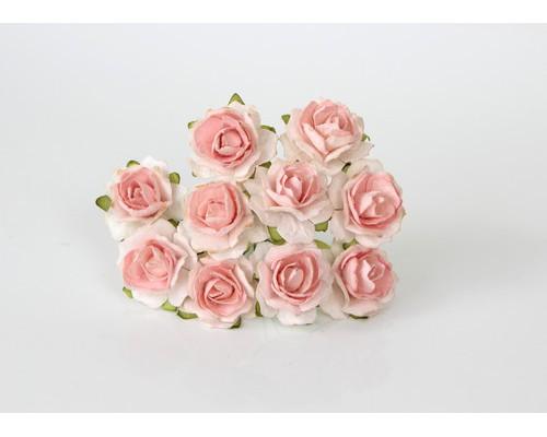Кудрявые розы 2 см - Белый + св.персиковая середина, 5 шт