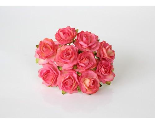 Кудрявые розы 2 см - Желтый + розовый №2, 5 шт