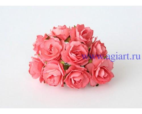 Кудрявые розы 2 см -Коралловые , 5 шт