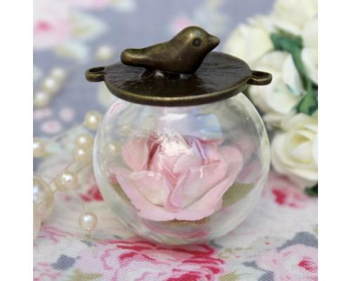 Набор стеклянный кулон-шар с птичкой