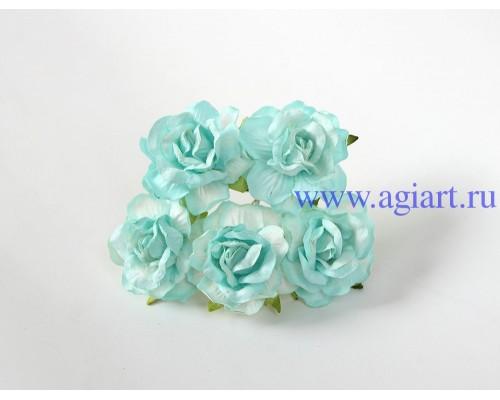 Кудрявые розы 4 см -Бирюзовые, 5 шт