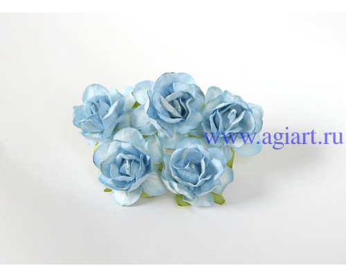 Кудрявые розы 4 см -Голубые, 5 шт